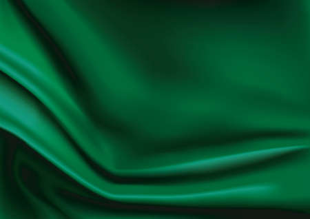 satiny cloth: Vector of Green silk fabric abstract background Illustration