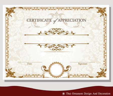 certificate template: Vector illustration of vintage certificate Illustration