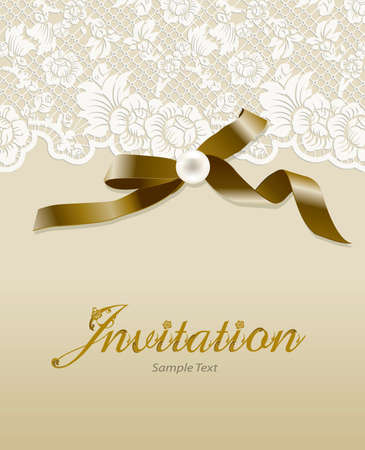 Vector invitation card with lace pearl and ribbon. Wedding card Valentine or invitation with lace background. Greeting card.