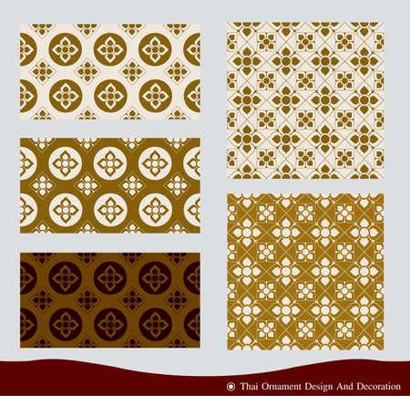 Vector of thai ornament, thai vintage frame design,thai culture decorative border template. Illustration