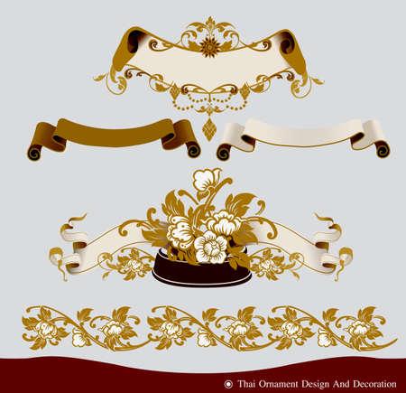 thai monk: Vector of thai ornament, thai vintage frame design,thai culture decorative border template. Illustration