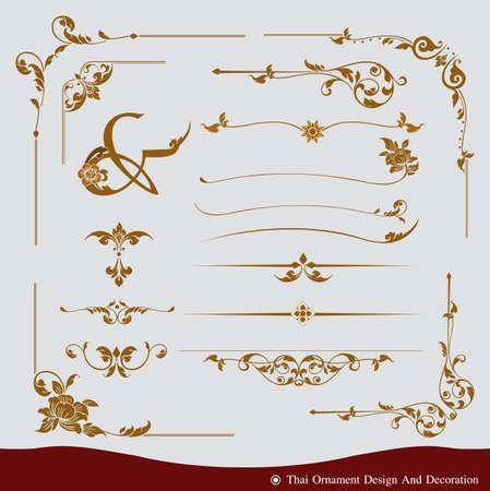 fila de personas: Vector conjunto de diseño del ornamento tailandés y decoración