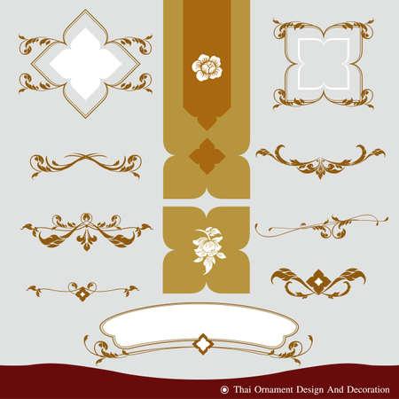 Vector set of thai ornament, thai vintage elements design,thai culture decorative border template. Ilustração