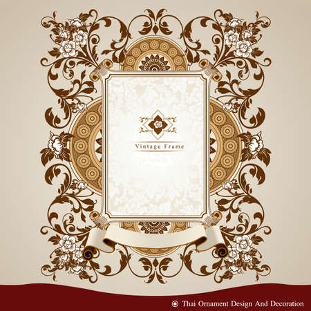 Vector of Thai ornament design and decoration. Frame, Background. Ilustração