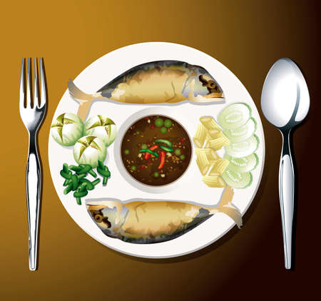 fried shrimp: Vector of fried mackerel with shrimp paste sauce