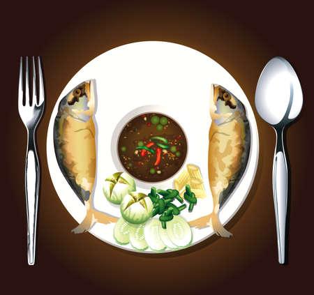 fried shrimp: Vector of fried mackerel with shrimp paste sauce