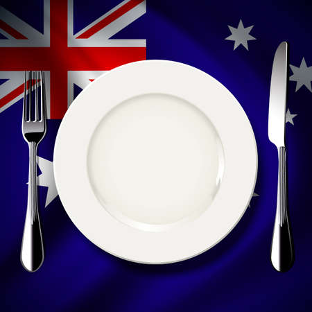 inter: Vector of White plate with knife and fork on Australia flag background. The national food concept.