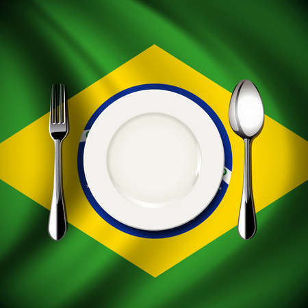 Vector of White plate with spoon and fork on Brazil flag background. The national food concept.