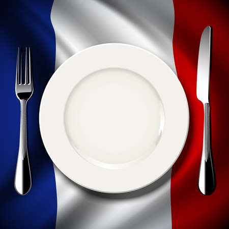 inter: Vector of White plate with knife and fork on France flag background. The national food concept.