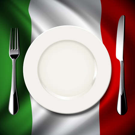 Vector of White plate with knife and fork on Italy flag background. The national food concept. Illustration
