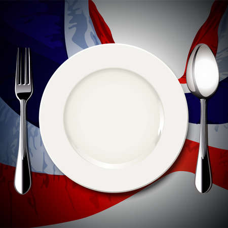 thailand food: Vector of White plate with spoon and fork on Thailand flag background. The national food concept. Illustration