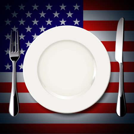 Vector van witte plaat met mes en vork op Amerika vlag achtergrond. De nationale food concept.