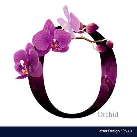 orchidee: Lettera O alfabeto vettore con il fiore dell'orchidea. ABC tipo di concetto. Design tipografia