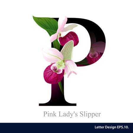 Letter P vector alphabet with pink ladys slipper  flower. ABC concept type as logo. Typography design
