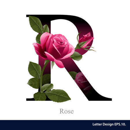 style: Letter R vector alphabet with rose  flower. ABC concept type . Typography design