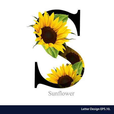Letter S vector alphabet with sunflower. ABC concept type. Typography design