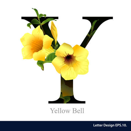 Letter Y  vector alphabet with Yellow Bell. ABC concept type as logo. Typography design Vectores