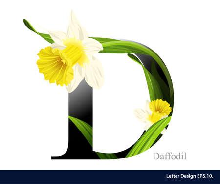 수선화 꽃 편지 D 벡터 알파벳입니다. ABC 개념 유형입니다. 타이포그래피 디자인