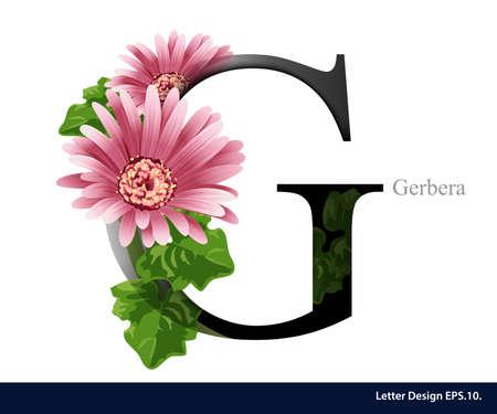 Letra G del alfabeto vector con flor de gerbera. ABC tipo de concepto. El diseño de la tipografía Vectores