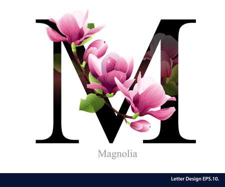 Letter M vector alphabet with magnolia flower. ABC concept type. Typography design Vettoriali