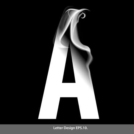 red smoke: Letter A with smoke waves.Vector illustration.