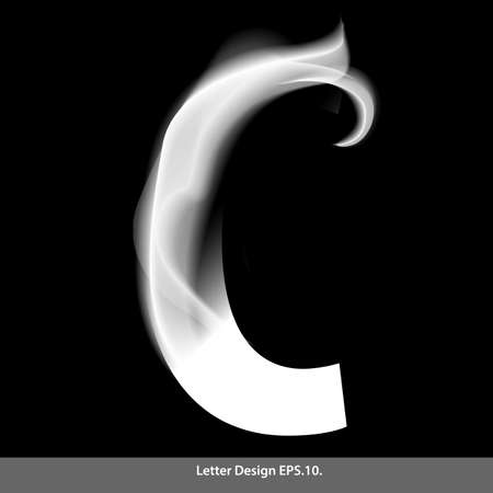 black smoke: Letter C with smoke waves. Vector illustration. Illustration