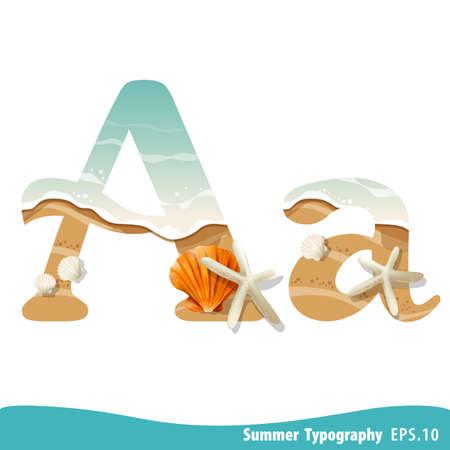 Summer alphabet Letter A. Seashells on the beach. Vector illustration. Ilustração