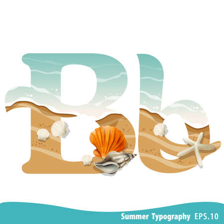 Summer alphabet Letter B. Seashells on the beach. Vector illustration.