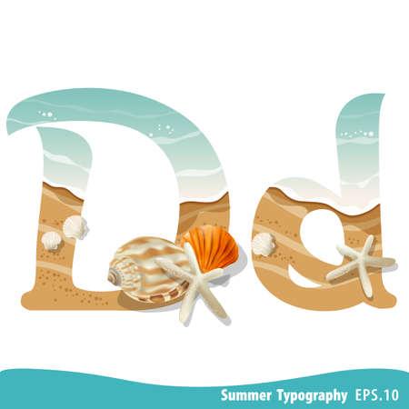 Summer alphabet Letter D. Seashells on the beach. Vector illustration.