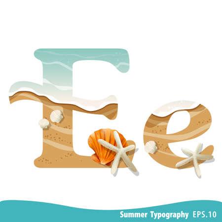 Summer alphabet Letter E. Seashells on the beach. Vector illustration.