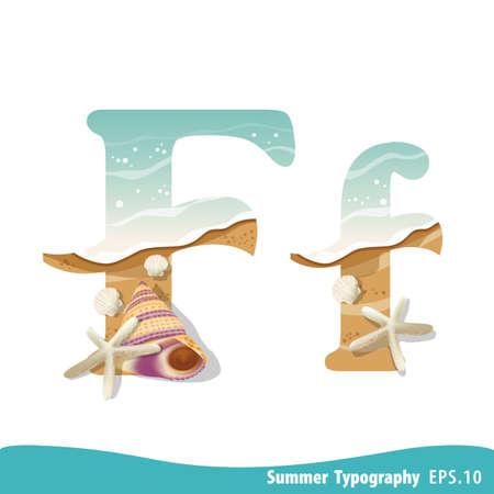 Summer alphabet Letter F. Seashells on the beach. Vector illustration. Ilustração