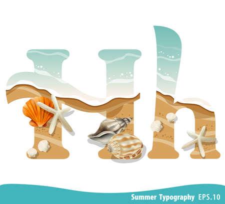 Summer alphabet Letter H. Seashells on the beach. Vector illustration.