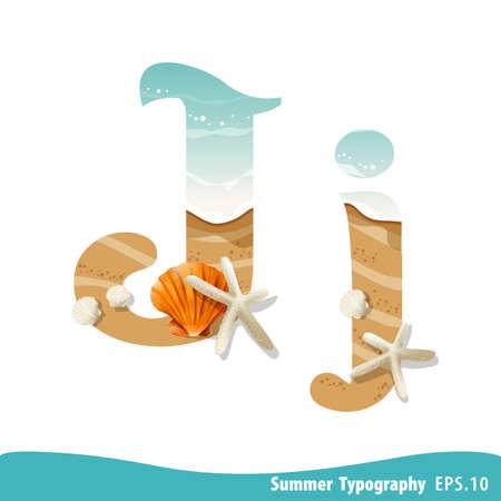 Summer alphabet Letter J. Seashells on the beach. Vector illustration.