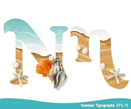 Summer alphabet Letter N. Seashells on the beach. Vector illustration.