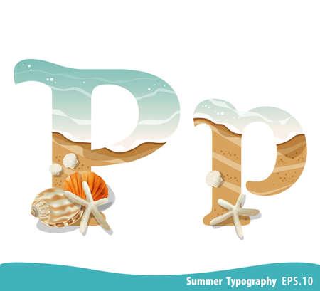 Summer alphabet Letter P. Seashells on the beach. Vector illustration.