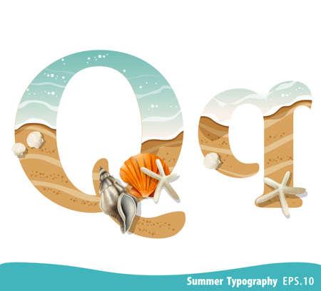 Summer alphabet Letter Q. Seashells on the beach. Vector illustration.