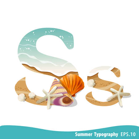 Summer alphabet Letter S. Seashells on the beach. Vector illustration.