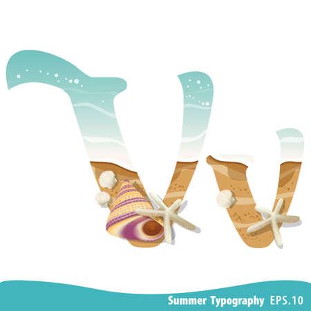 Summer alphabet Letter V. Seashells on the beach. Vector illustration.