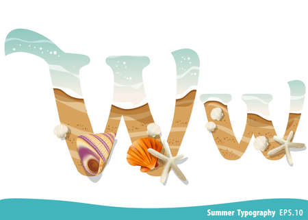 Summer alphabet Letter W. Seashells on the beach. Vector illustration. Ilustração