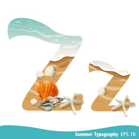 Summer alphabet Letter Z. Seashells on the beach. Vector illustration.