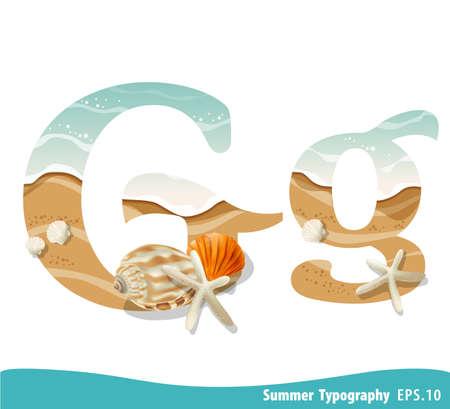 Summer alphabet Letter G. Seashells on the beach. Vector illustration.