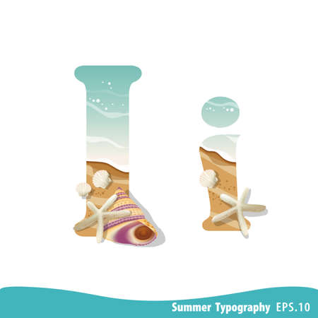 Summer alphabet Letter I. Seashells on the beach. Vector illustration.