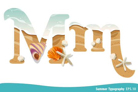 Summer alphabet Letter M. Seashells on the beach. Vector illustration.