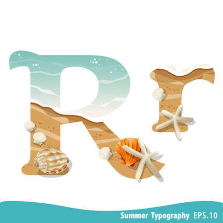Summer alphabet Letter R. Seashells on the beach. Vector illustration.