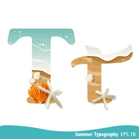 Summer alphabet Letter T. Seashells on the beach. Vector illustration. Ilustração