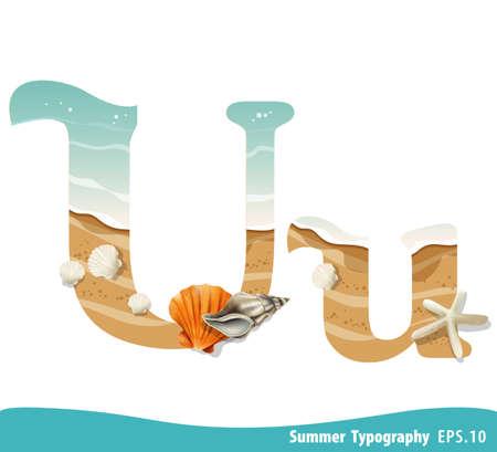 Summer alphabet Letter U. Seashells on the beach. Vector illustration. Ilustração