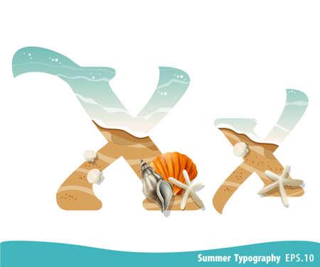 Summer alphabet Letter X. Seashells on the beach. Vector illustration. Ilustração