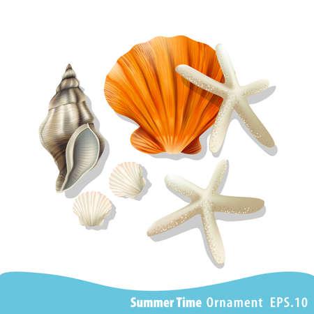 Vector illustration of Summer holidays illustration. Sea ornament. Ilustração