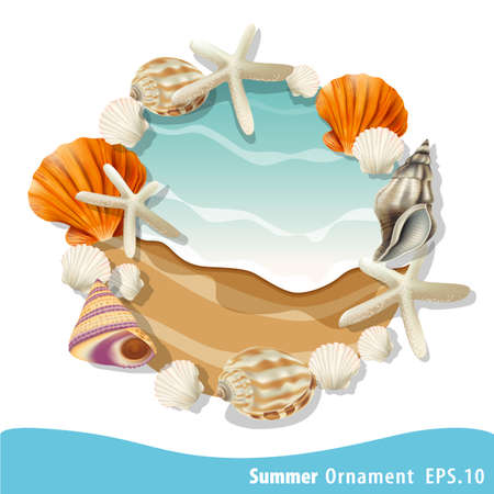boarder: Summer vector seashell frame for the text. Decorative vector boarder for greeting cards Illustration