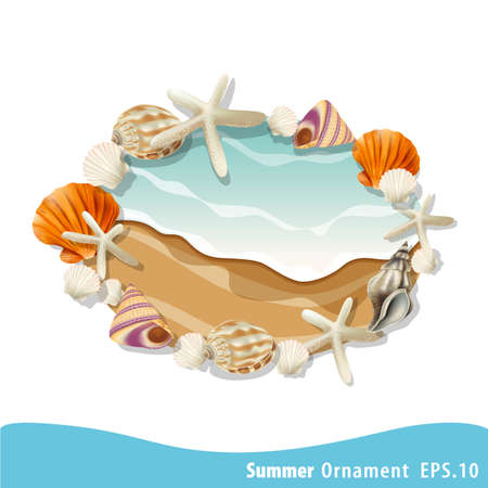 boarder: Summer vector seashell frame oval form. Decorative vector boarder for greeting cards